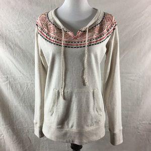 Boho Beaded Embroidered Cream Sweater Lucky Brand